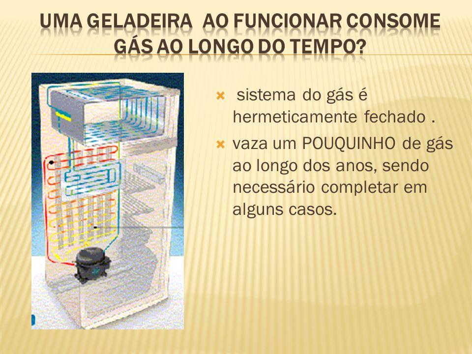 Uma geladeira ao funcionar consome gás ao longo do tempo