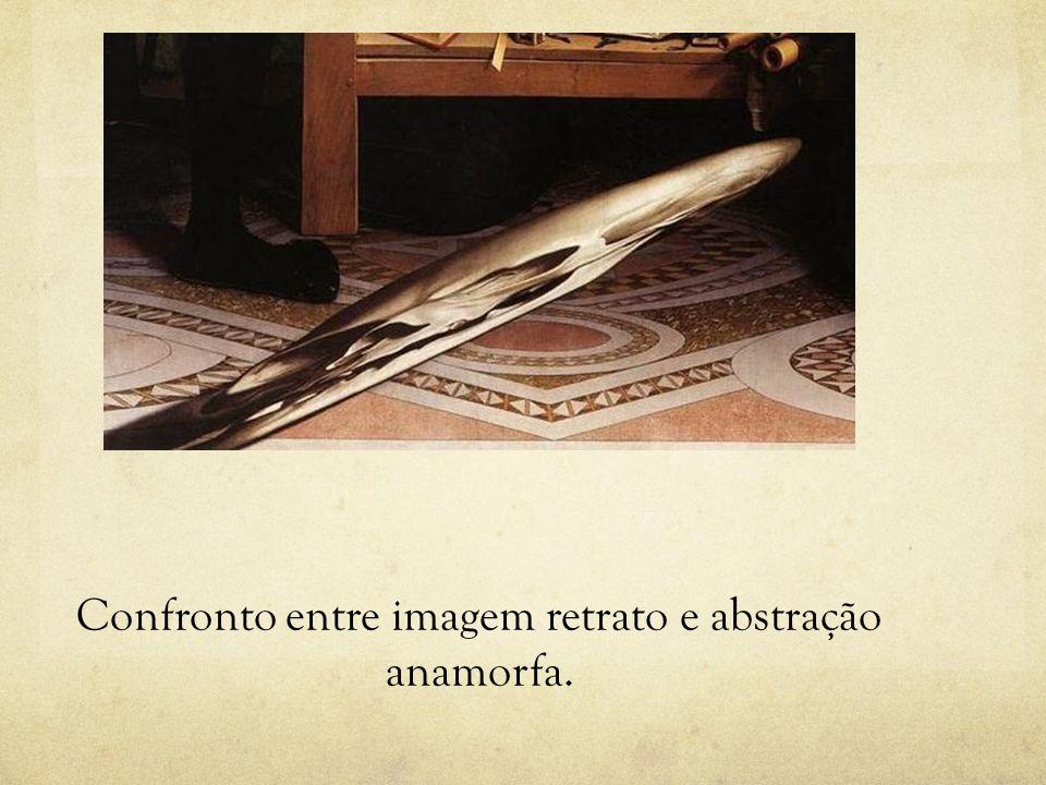 Confronto entre imagem retrato e abstração anamorfa.