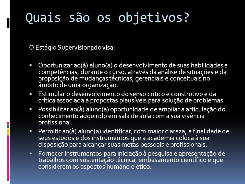Quais são os objetivos O Estágio Supervisionado visa:
