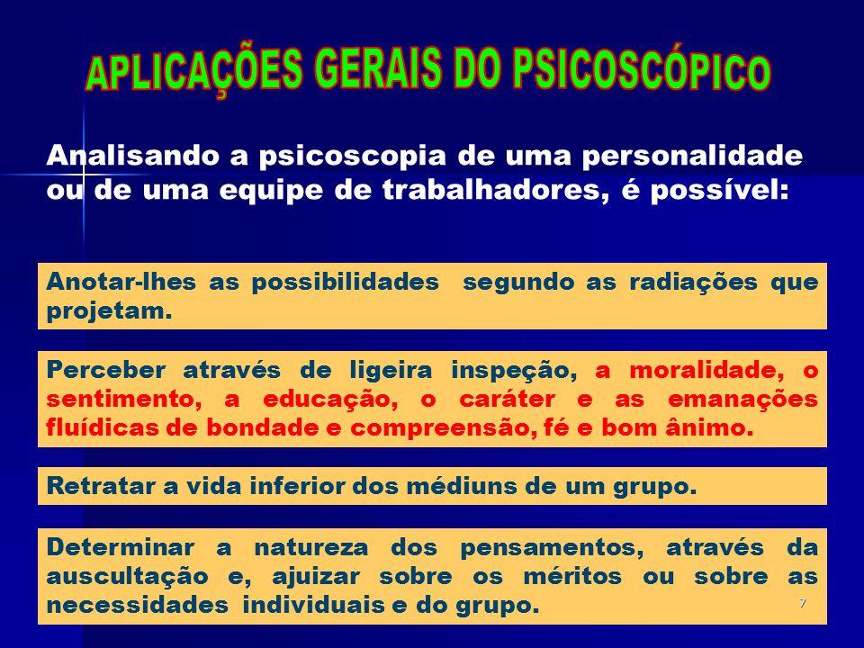 APLICAÇÕES GERAIS DO PSICOSCÓPICO
