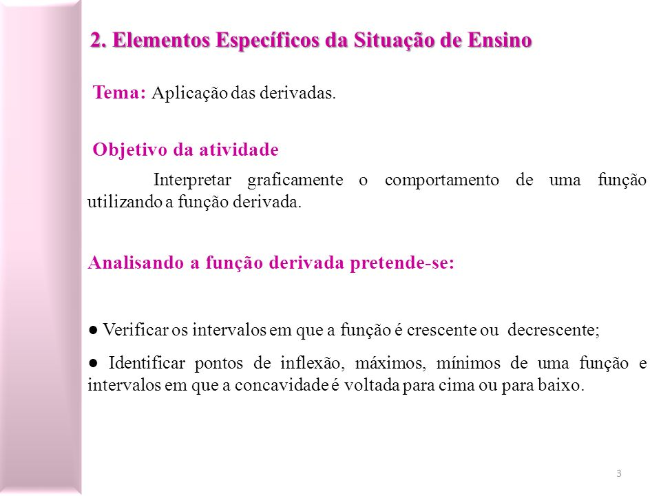 2. Elementos Específicos da Situação de Ensino