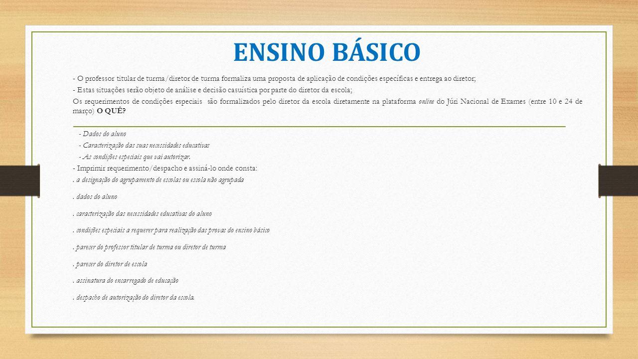 ENSINO BÁSICO - O professor titular de turma/diretor de turma formaliza uma proposta de aplicação de condições específicas e entrega ao diretor;