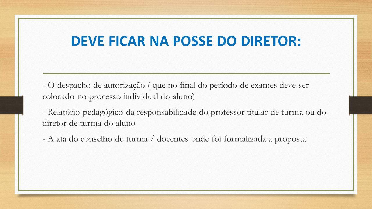DEVE FICAR NA POSSE DO DIRETOR: