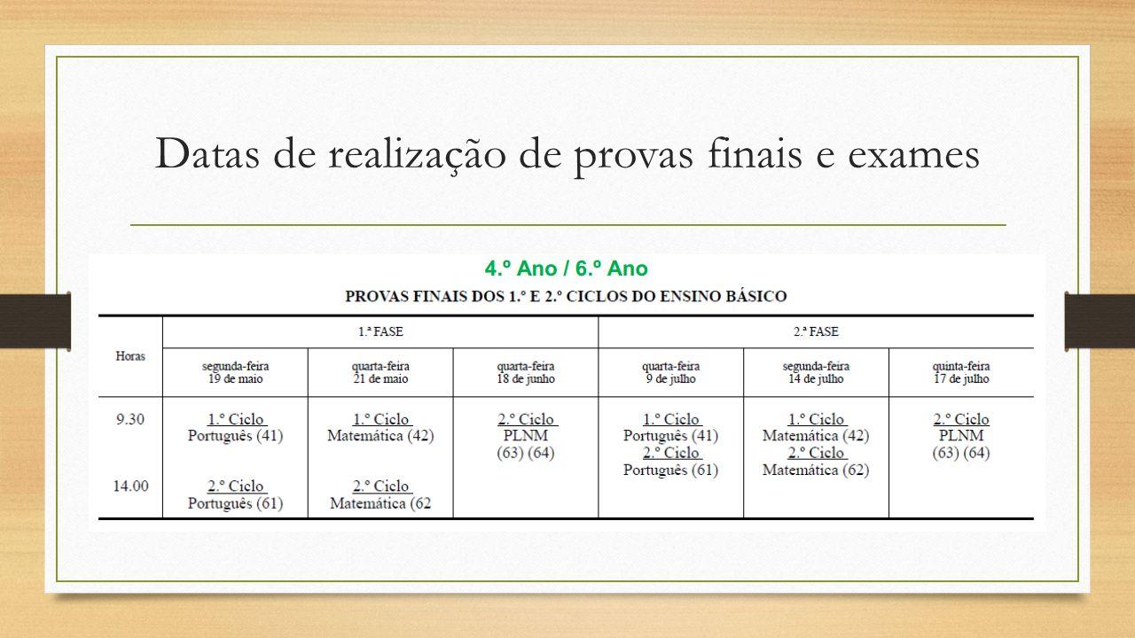Datas de realização de provas finais e exames