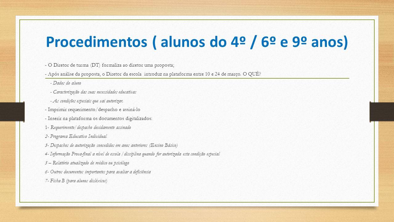 Procedimentos ( alunos do 4º / 6º e 9º anos)
