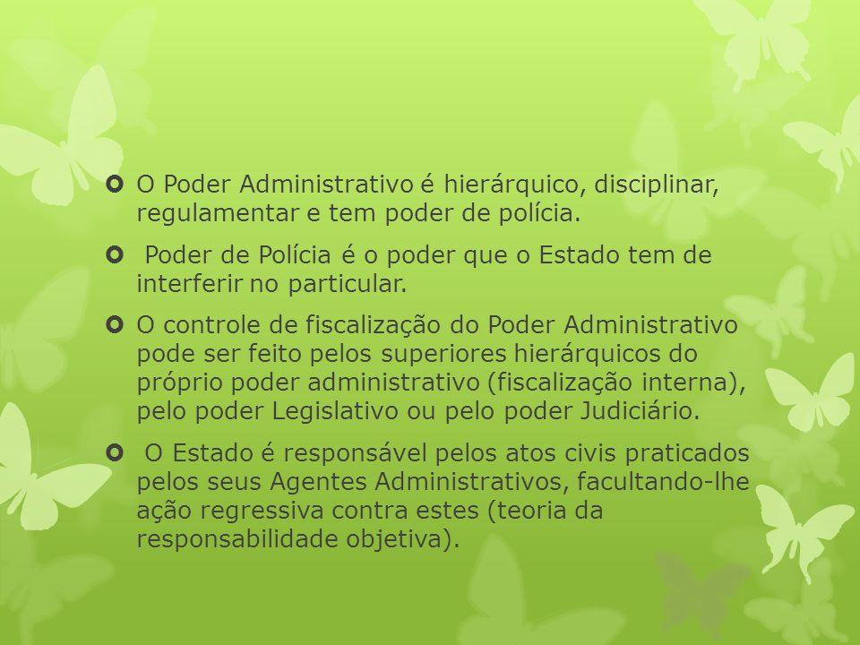 O Poder Administrativo é hierárquico, disciplinar, regulamentar e tem poder de polícia.