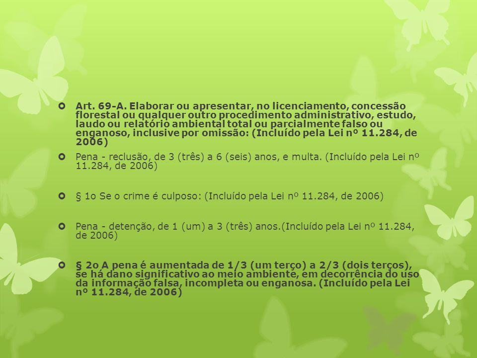 Art. 69-A. Elaborar ou apresentar, no licenciamento, concessão florestal ou qualquer outro procedimento administrativo, estudo, laudo ou relatório ambiental total ou parcialmente falso ou enganoso, inclusive por omissão: (Incluído pela Lei nº 11.284, de 2006)
