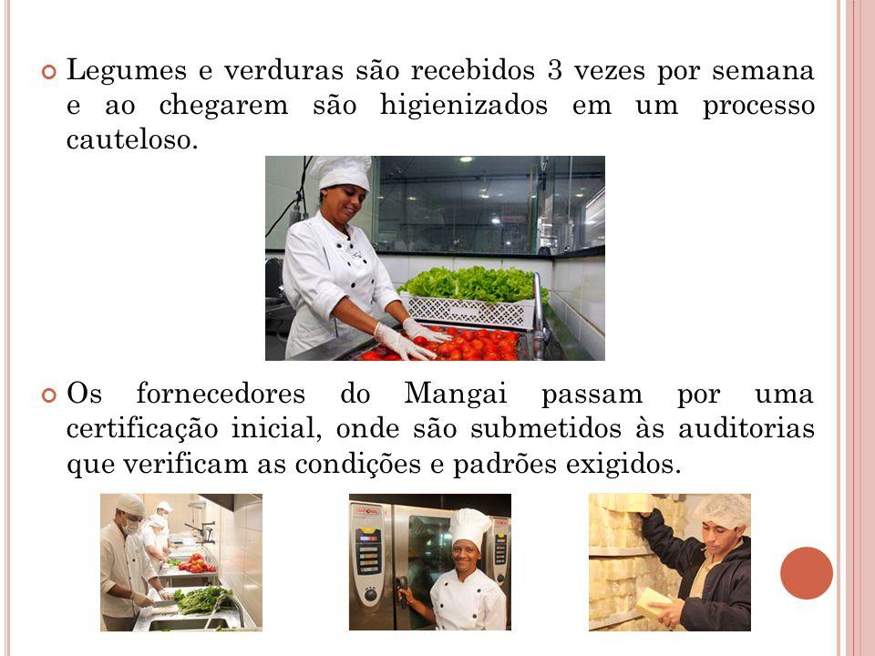 Legumes e verduras são recebidos 3 vezes por semana e ao chegarem são higienizados em um processo cauteloso.