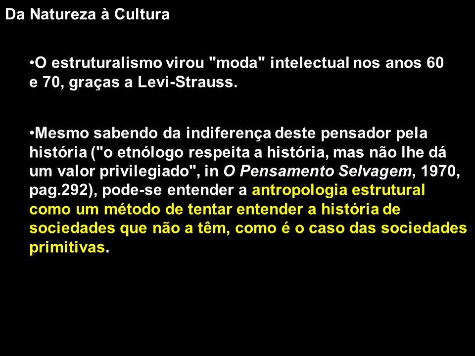 Da Natureza à Cultura O estruturalismo virou moda intelectual nos anos 60 e 70, graças a Levi-Strauss.