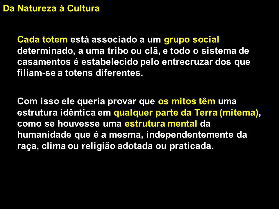 Da Natureza à Cultura Cada totem está associado a um grupo social. determinado, a uma tribo ou clã, e todo o sistema de.
