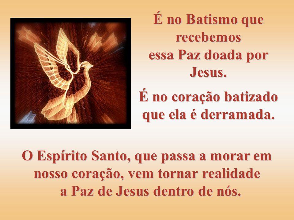 É no Batismo que recebemos essa Paz doada por Jesus.