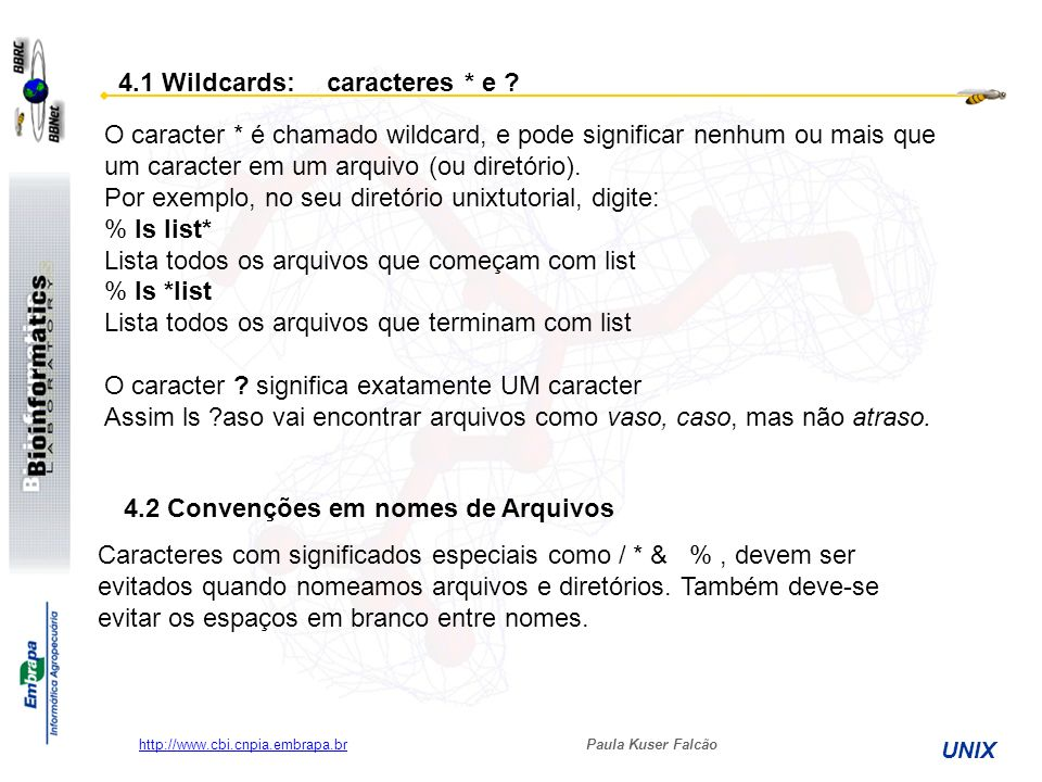 4.1 Wildcards: caracteres * e