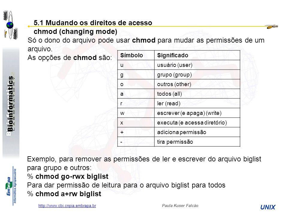 5.1 Mudando os direitos de acesso chmod (changing mode)