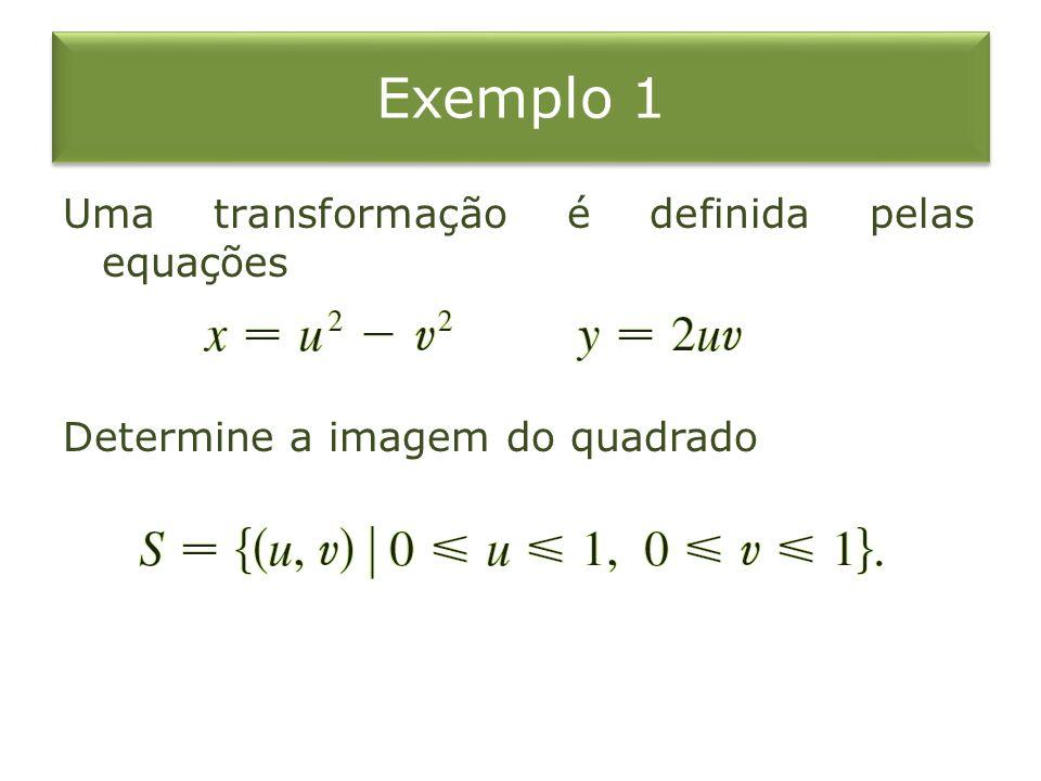 Exemplo 1 Uma transformação é definida pelas equações Determine a imagem do quadrado