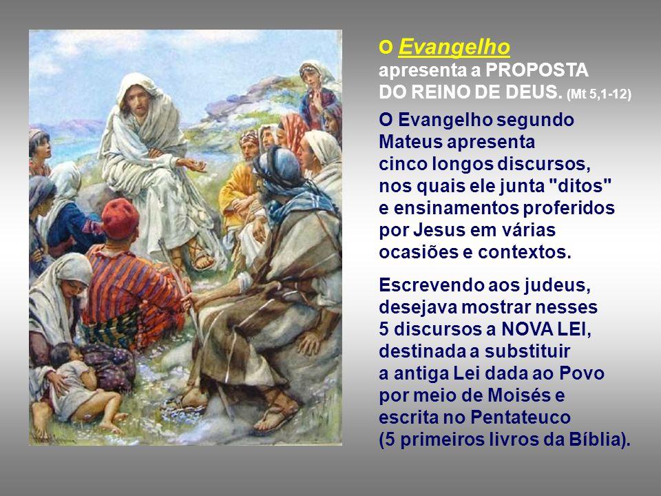 O Evangelho apresenta a PROPOSTA DO REINO DE DEUS. (Mt 5,1-12)