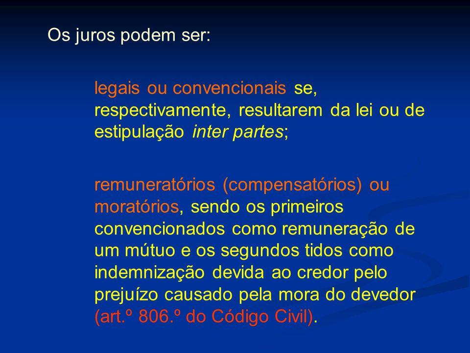 Os juros podem ser: legais ou convencionais se, respectivamente, resultarem da lei ou de estipulação inter partes;