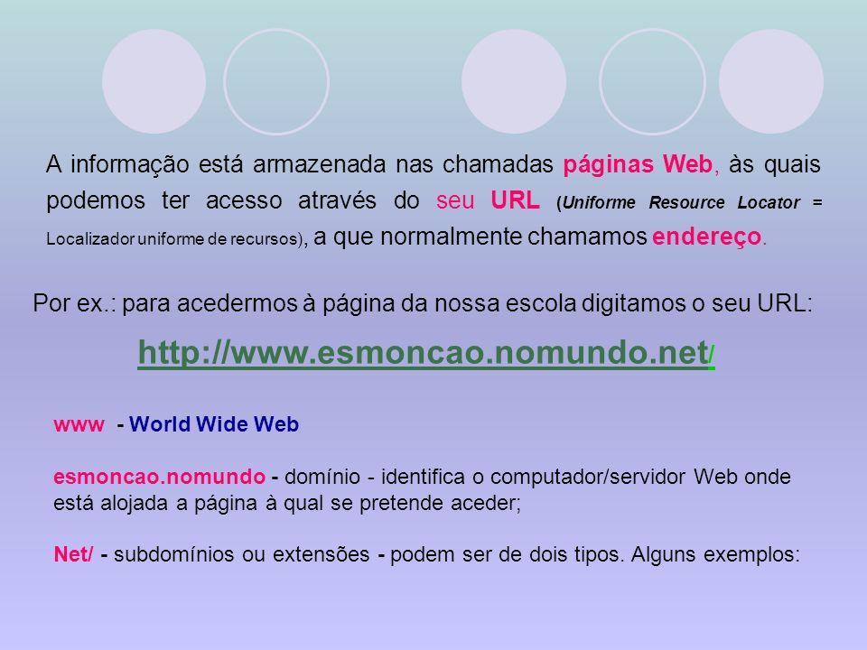 Por ex.: para acedermos à página da nossa escola digitamos o seu URL: