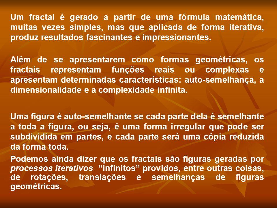 Um fractal é gerado a partir de uma fórmula matemática, muitas vezes simples, mas que aplicada de forma iterativa, produz resultados fascinantes e impressionantes.