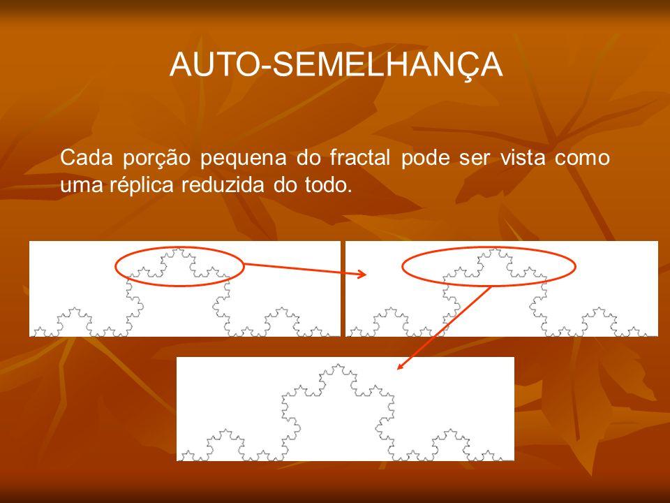 AUTO-SEMELHANÇA Cada porção pequena do fractal pode ser vista como uma réplica reduzida do todo.