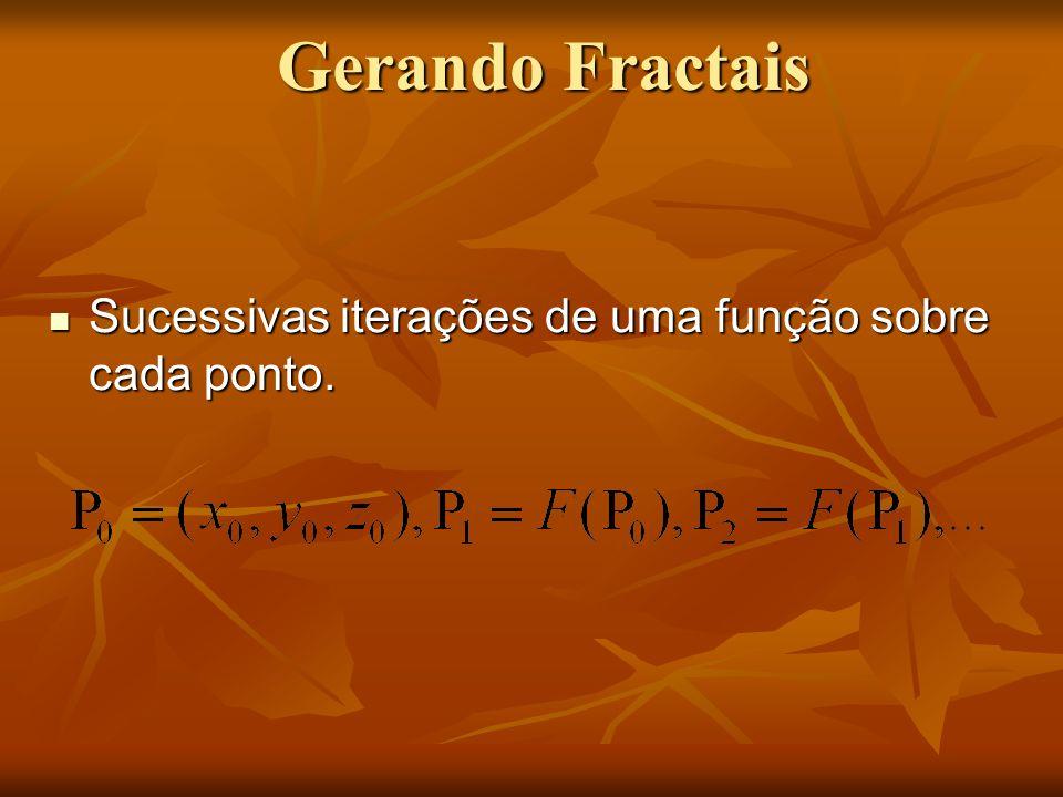 Gerando Fractais Sucessivas iterações de uma função sobre cada ponto.