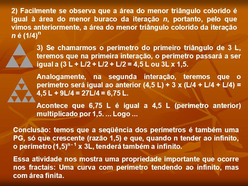 2) Facilmente se observa que a área do menor triângulo colorido é igual à área do menor buraco da iteração n, portanto, pelo que vimos anteriormente, a área do menor triângulo colorido da iteração n é (1/4)n
