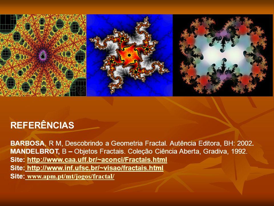 REFERÊNCIAS BARBOSA, R M, Descobrindo a Geometria Fractal. Autência Editora, BH: 2002.