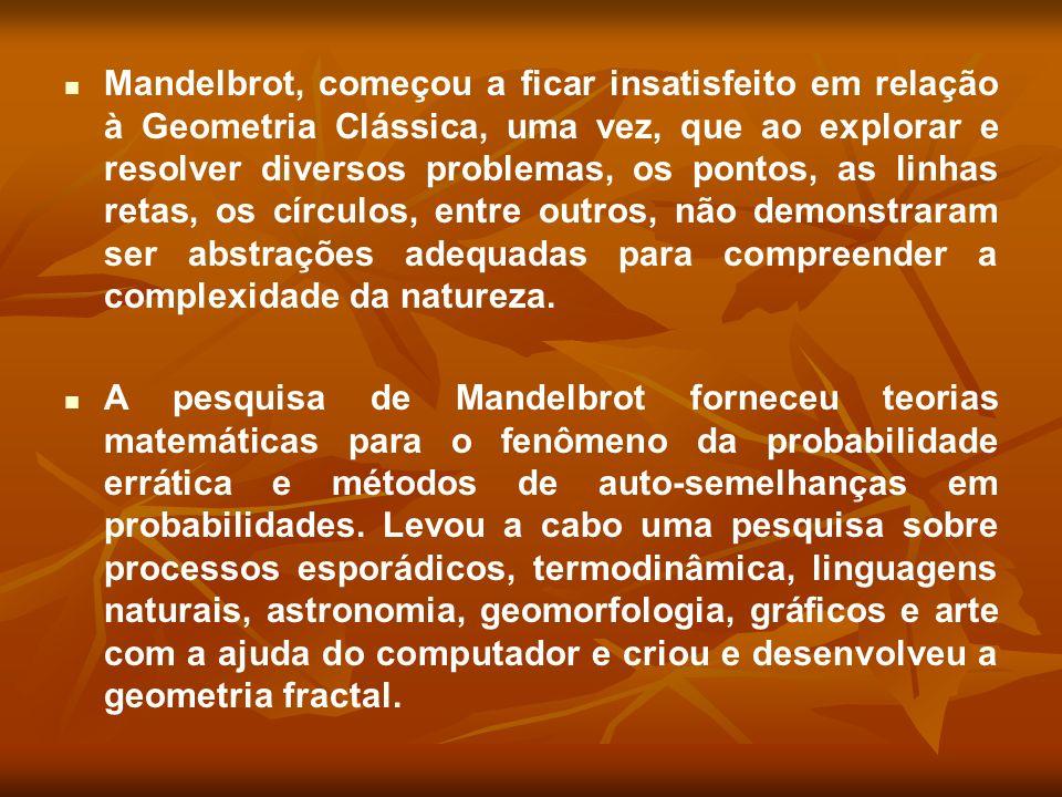 Mandelbrot, começou a ficar insatisfeito em relação à Geometria Clássica, uma vez, que ao explorar e resolver diversos problemas, os pontos, as linhas retas, os círculos, entre outros, não demonstraram ser abstrações adequadas para compreender a complexidade da natureza.