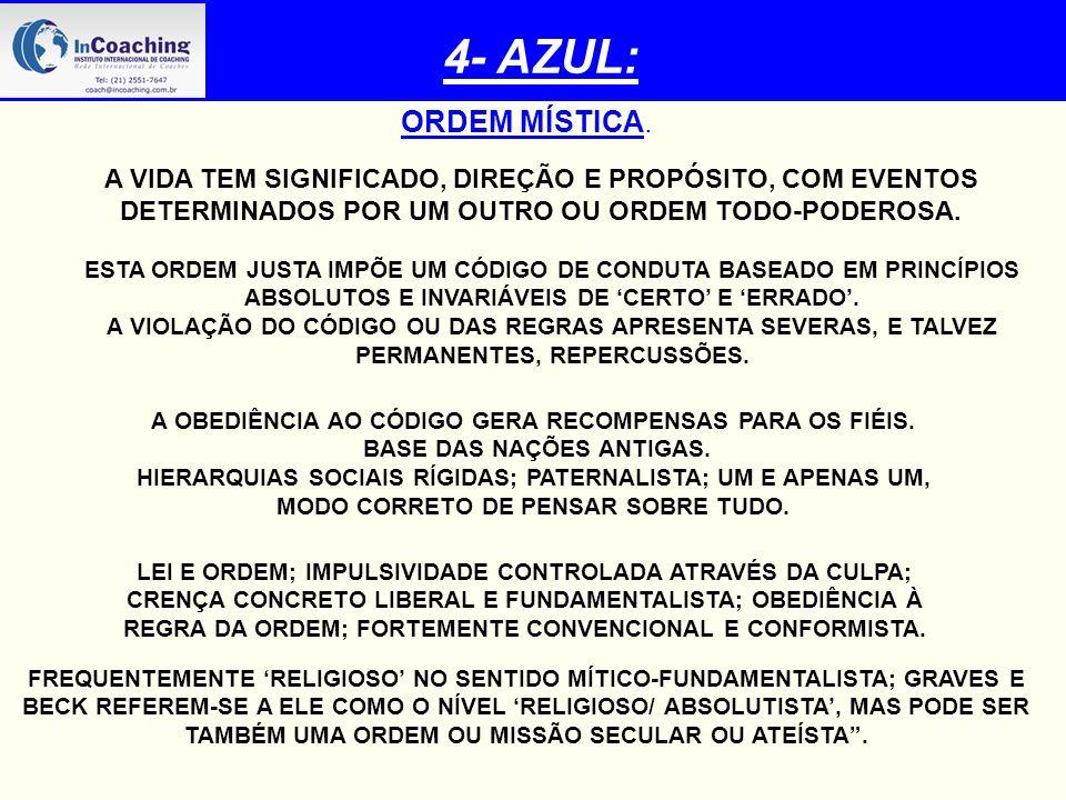 4- AZUL: ORDEM MÍSTICA. A VIDA TEM SIGNIFICADO, DIREÇÃO E PROPÓSITO, COM EVENTOS DETERMINADOS POR UM OUTRO OU ORDEM TODO-PODEROSA.