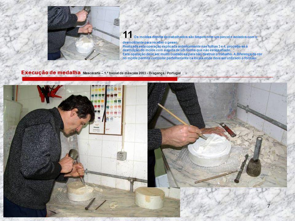 11 Os moldes depois de trabalhados são limpos com um pincel e isolados com o desmoldante para receber o gesso.