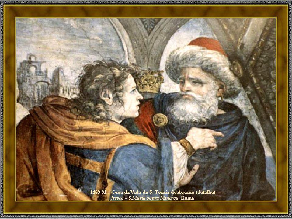 1489-91 – Cena da Vida de S. Tomás de Aquino (detalhe) fresco - S