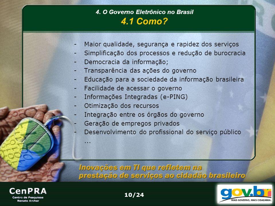 4. O Governo Eletrônico no Brasil 4.1 Como