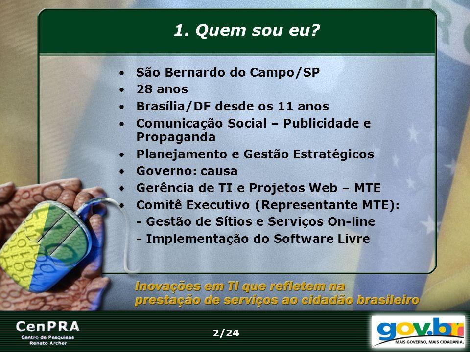 1. Quem sou eu São Bernardo do Campo/SP 28 anos