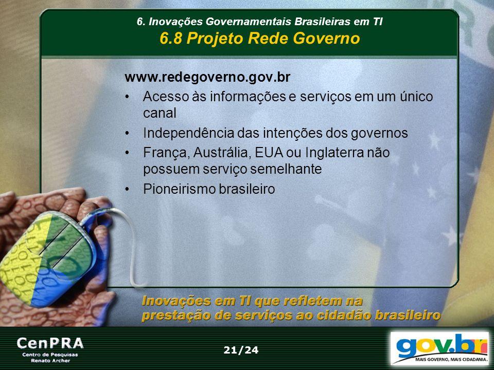 6. Inovações Governamentais Brasileiras em TI 6.8 Projeto Rede Governo