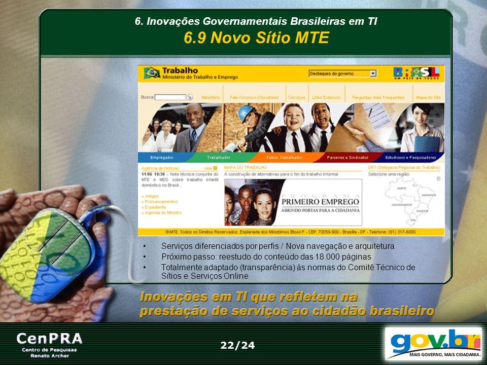 6. Inovações Governamentais Brasileiras em TI 6.9 Novo Sítio MTE