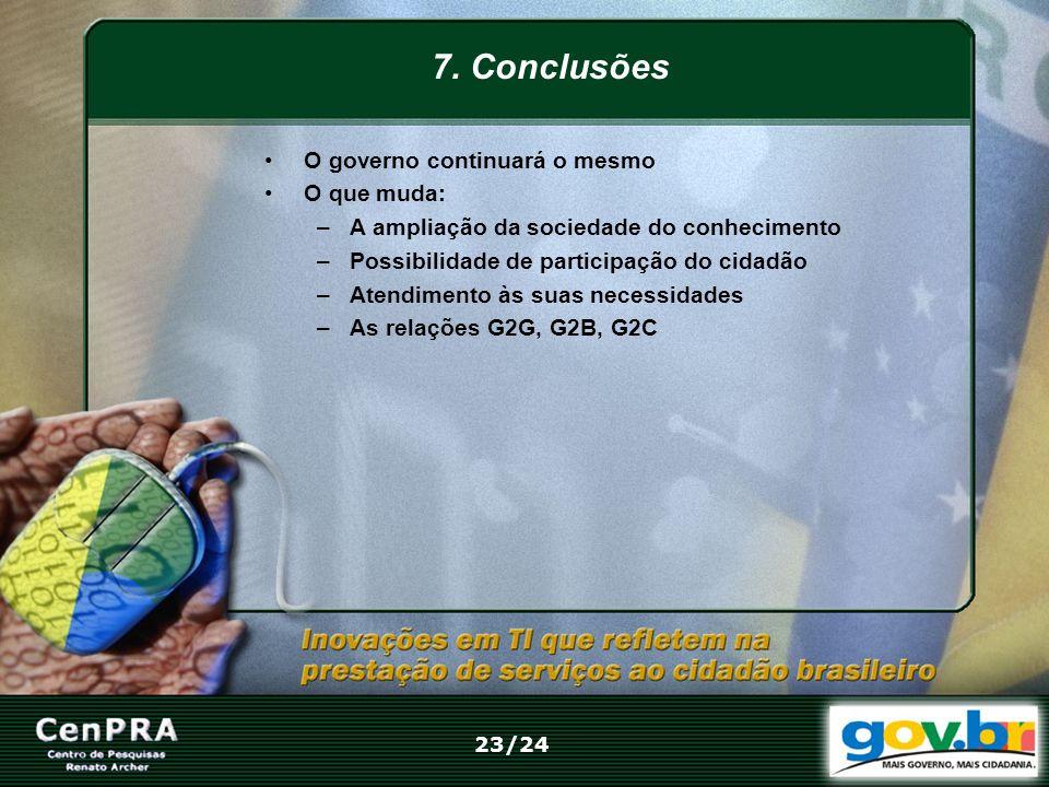7. Conclusões O governo continuará o mesmo O que muda: