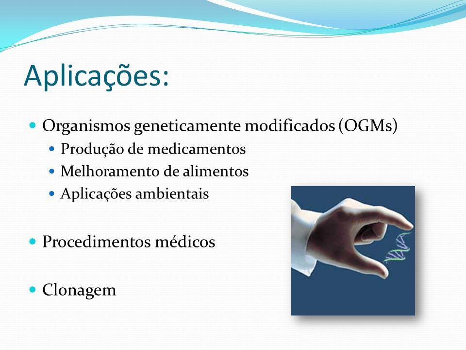 Aplicações: Organismos geneticamente modificados (OGMs)