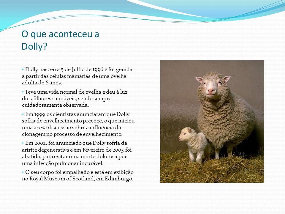 O que aconteceu a Dolly Dolly nasceu a 5 de Julho de 1996 e foi gerada a partir das células mamárias de uma ovelha adulta de 6 anos.
