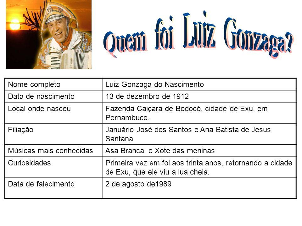 Quem foi Luiz Gonzaga Nome completo Luiz Gonzaga do Nascimento