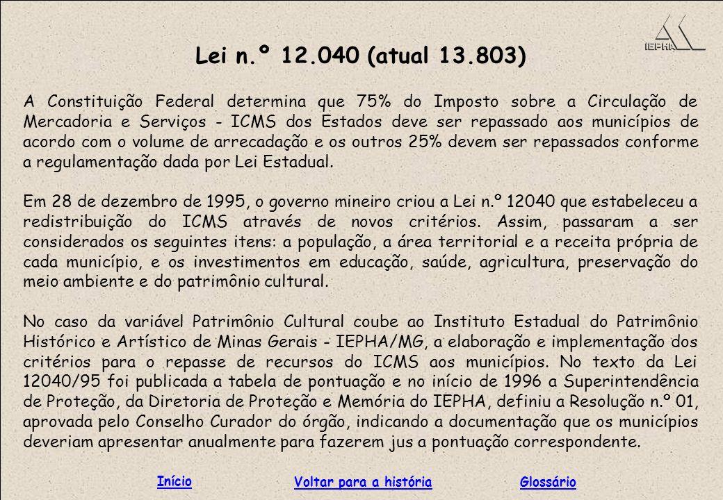 Lei n.º 12.040 (atual 13.803) Início Voltar para a história Glossário