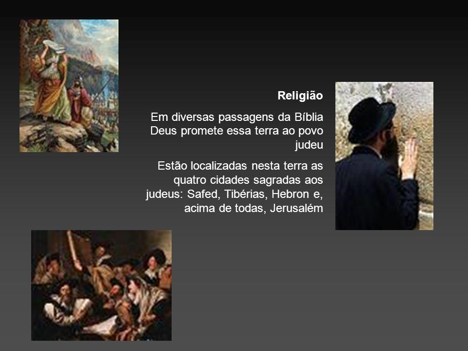 Religião Em diversas passagens da Bíblia Deus promete essa terra ao povo judeu.
