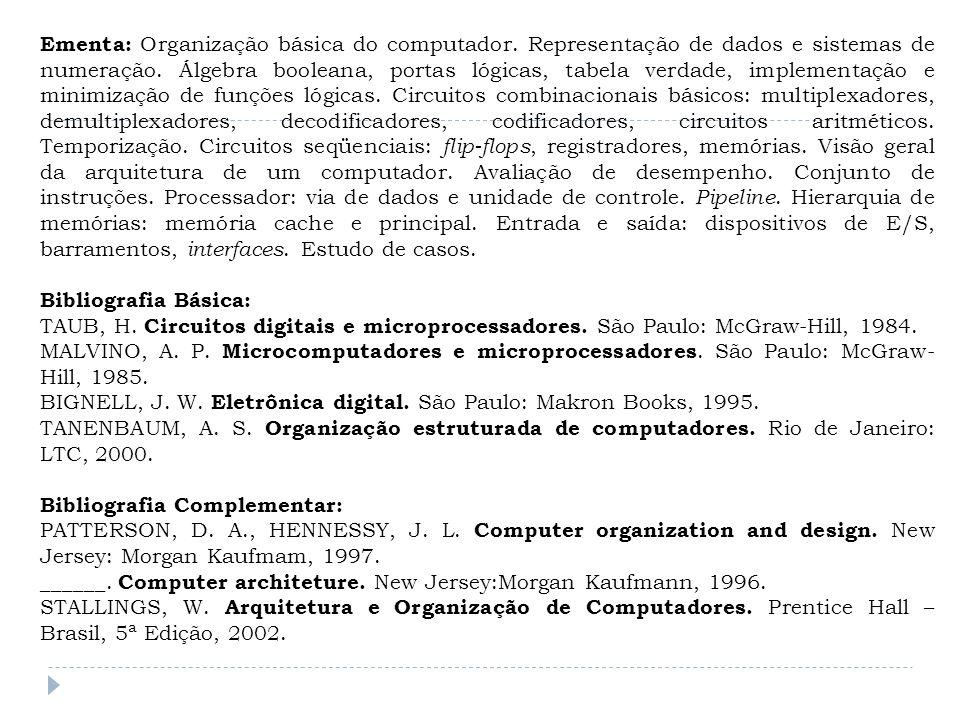 Ementa: Organização básica do computador