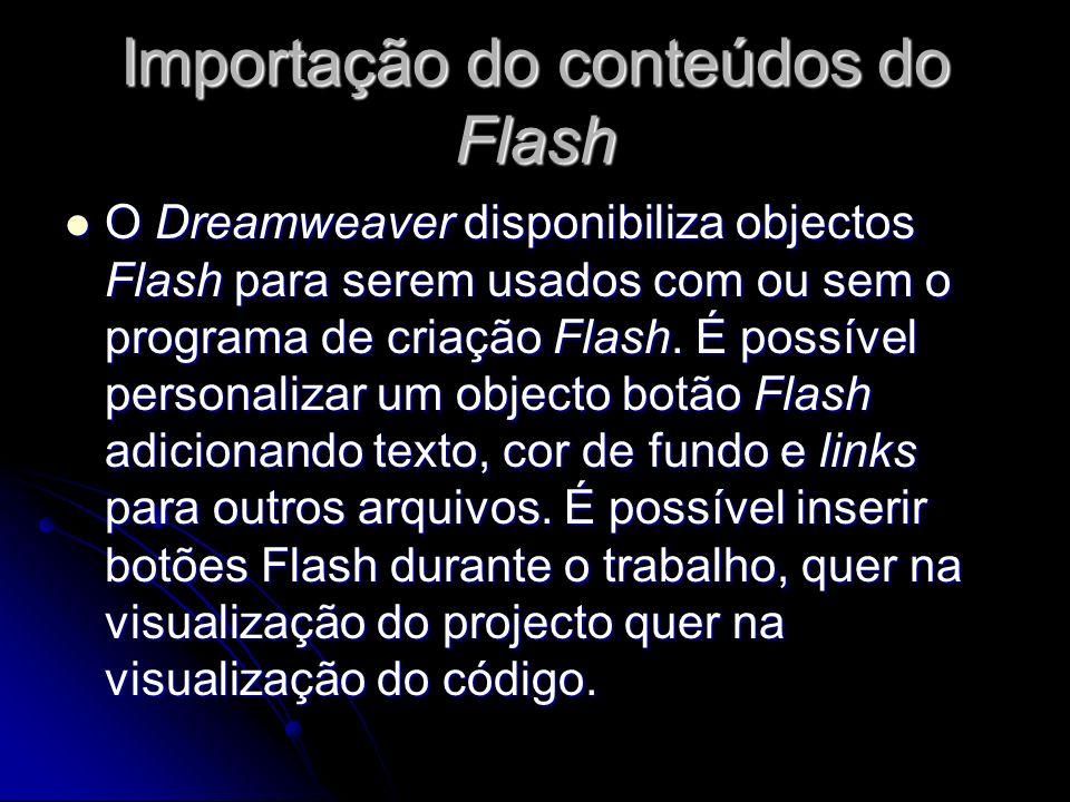 Importação do conteúdos do Flash