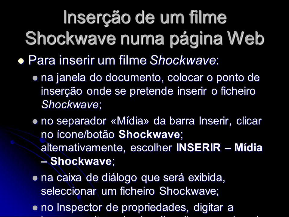 Inserção de um filme Shockwave numa página Web
