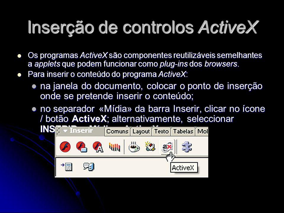 Inserção de controlos ActiveX