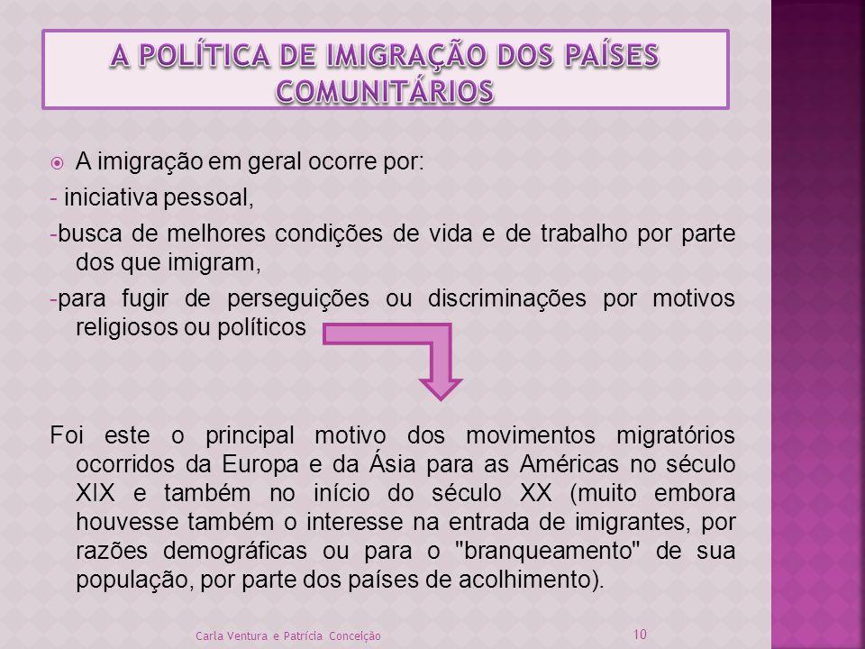 A POLÍTICA DE IMIGRAÇÃO DOS PAÍSES COMUNITÁRIOS