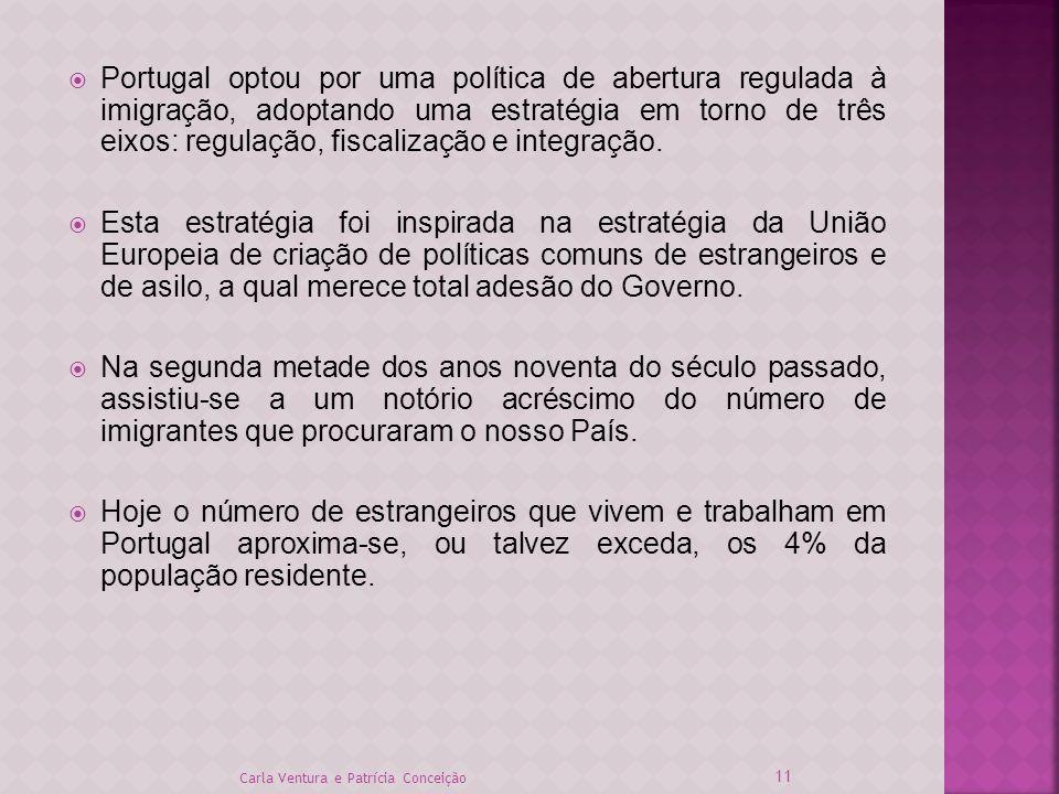 Portugal optou por uma política de abertura regulada à imigração, adoptando uma estratégia em torno de três eixos: regulação, fiscalização e integração.