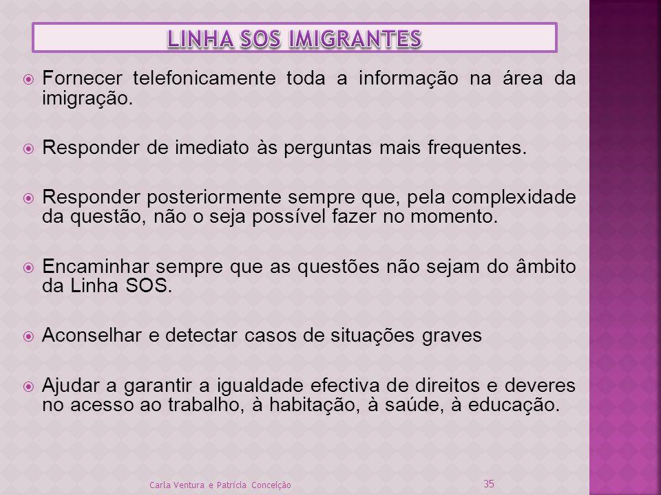 LINHA SOS IMIGRANTES Fornecer telefonicamente toda a informação na área da imigração. Responder de imediato às perguntas mais frequentes.