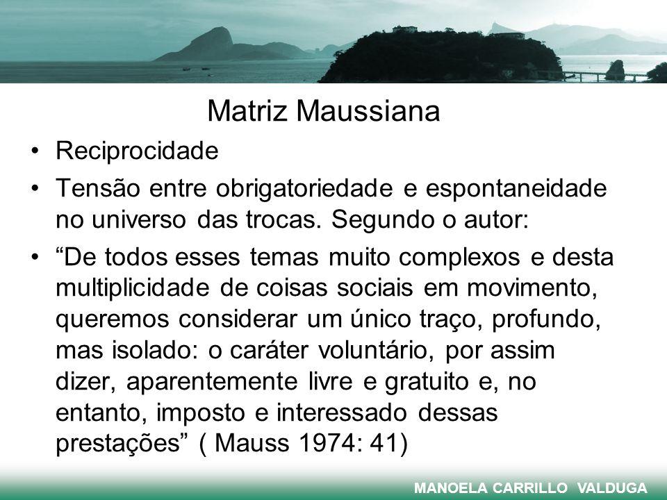 Matriz Maussiana Reciprocidade