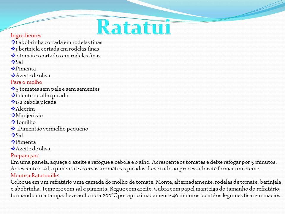 Ratatui Ingredientes 1 abobrinha cortada em rodelas finas