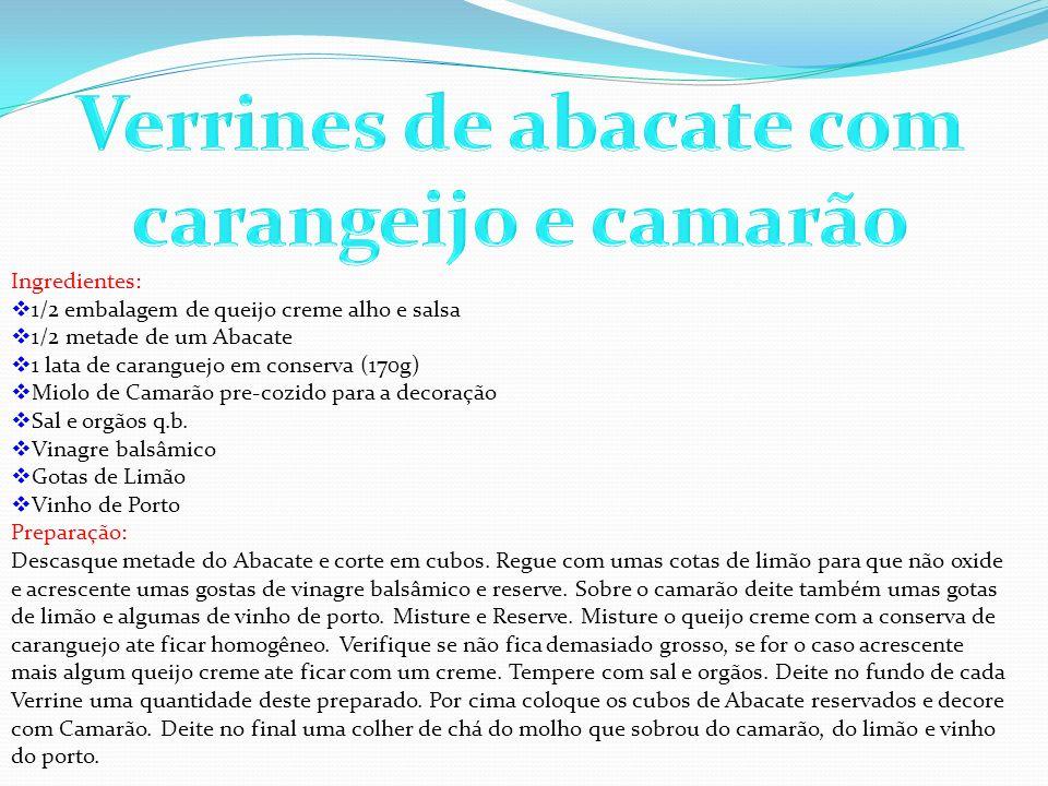 Verrines de abacate com carangeijo e camarão